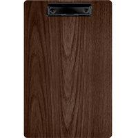 Menu Solutions WDCLIP-D Walnut 8 1/2 inch x 14 inch Customizable Wood Menu Clip Board