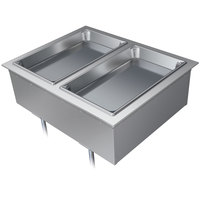 Hatco DHWBI-2 Insulated Two Compartment Modular / Ganged Drop In Hot Food Well with Drain - 120/208-240V