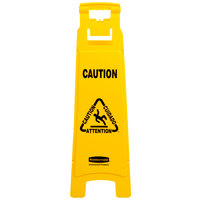 Rubbermaid FG611400YEL 37 inch Yellow 4-Sided Multi-Lingual Wet Floor Sign - Caution