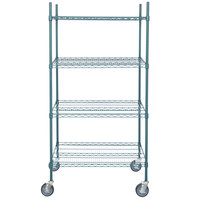 Regency 24 inch x 36 inch NSF Green Epoxy Shelf Kit with 64 inch Posts and Casters