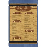 Menu Solutions WDRBB-D True Blue 8 1/2 inch x 14 inch Customizable Wood Menu Board with Rubber Band Straps