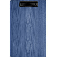 Menu Solutions WDCLIP-D True Blue 8 1/2 inch x 14 inch Customizable Wood Menu Clip Board