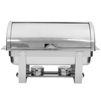 Choice Deluxe 8 Qt. Full Size Roll Top Chafer with Chrome Accents