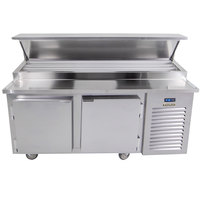 Traulsen TB071SL3S 71 inch 2 Door Refrigerated Pizza Prep Table with 3 Pan Rails