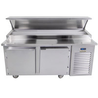 Traulsen TB060SL2S 60 inch 2 Door Refrigerated Pizza Prep Table with 2 Pan Rails