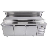 Traulsen TB091SL3S 91 inch 3 Door Refrigerated Pizza Prep Table with 3 Pan Rails