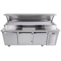 Traulsen TB091SL2S 91 inch 3 Door Refrigerated Pizza Prep Table with 2 Pan Rails