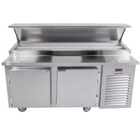 Traulsen TB065SL2S 65 inch 2 Door Refrigerated Pizza Prep Table with 2 Pan Rails