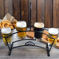 Acopa Tasting Flight Set - 4 Pub Sample Glasses with Black Metal Taster Caddy