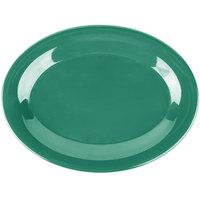Carlisle 3308609 Sierrus 9 1/2 inch x 7 1/4 inch Meadow Green Oval Melamine Platter - 24/Case
