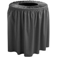 Snap Drape TCCWYN44CHAR Wyndham 44 Gallon Charcoal Shirred Pleat Trash Can Cover