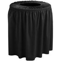 Snap Drape 5412WC44F014 Wyndham 44 Gallon Black Shirred Pleat Trash Can Cover