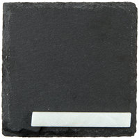 Acopa 4 inch Square Black Slate Appetizer / Tasting Plate with Soapstone Chalk - 4/Pack