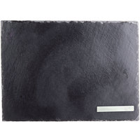 Core 13 1/2 inch x 10 inch Rectangular Black Slate Tray with Soapstone Chalk - 12/Case