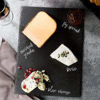 Acopa 13 1/2 inch x 10 inch Rectangular Black Slate Tray with Soapstone Chalk - 12/Case