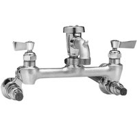 Fisher 54704 Wall Mounted Stainless Steel Service Sink Faucet with 8 inch Centers, 3 inch Service Sink Spout, Garden Hose Outlet, Lever Handles, and Stops