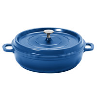 GET CA-005-CB/BK Heiss 3 Qt. Cobalt Blue Enamel Coated Cast Aluminum Round Coated Cast Aluminum Braiser / Paella Dish with Lid