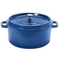 GET CA-006-CB/BK Heiss 6.5 Qt. Cobalt Blue Enamel Coated Cast Aluminum Round Coated Cast Aluminum Dutch Oven with Lid