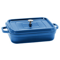 GET CA-010-CB/BK Heiss 5 Qt. Cobalt Blue Enamel Coated Cast Aluminum Rectangular Coated Cast Aluminum Roaster with Lid