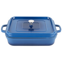 GET CA-010-CB/BK Heiss 5 Qt. Cobalt Blue Enamel Coated Cast Aluminum Roaster with Lid