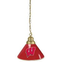 Holland Bar Stool BL1BRWisc-W University of Wisconsin Logo Pendant Light with Brass Finish - 120V