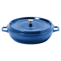 GET CA-008-CB/BK Heiss 4.5 Qt. Cobalt Blue Enamel Coated Cast Aluminum Round Coated Cast Aluminum Braiser / Paella Dish with Lid