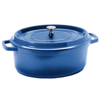 GET CA-007-CB/BK Heiss 6.5 Qt. Cobalt Blue Enamel Coated Cast Aluminum Oval Coated Cast Aluminum Dutch Oven with Lid