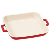 GET CA-004-RW Heiss 10 oz. Red / White Enamel Coated Cast Aluminum Mini Square Coated Cast Aluminum Grill Pan