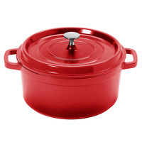 GET CA-012-R/BK Heiss 4.5 Qt. Red Enamel Coated Cast Aluminum Round Coated Cast Aluminum Dutch Oven with Lid