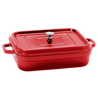 GET CA-010-R/BK Heiss 5 Qt. Red Enamel Coated Cast Aluminum Rectangular Coated Cast Aluminum Roaster with Lid
