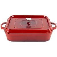 GET CA-010-R/BK Heiss 5 Qt. Red Enamel Coated Cast Aluminum Roaster with Lid