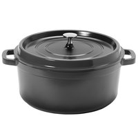 GET CA-006-GR/BK Heiss 6.5 Qt. Gray Enamel Coated Cast Aluminum Round Coated Cast Aluminum Dutch Oven with Lid