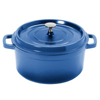 GET CA-012-CB/BK Heiss 4.5 Qt. Cobalt Blue Enamel Coated Cast Aluminum Round Coated Cast Aluminum Dutch Oven with Lid