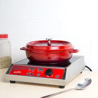 GET CA-005-R/BK Heiss 3 Qt. Red Enamel Coated Cast Aluminum Round Coated Cast Aluminum Brazier / Paella Dish with Lid
