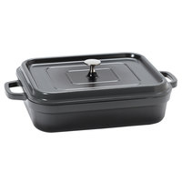 GET CA-010-GR/BK Heiss 5 Qt. Gray Enamel Coated Cast Aluminum Rectangular Coated Cast Aluminum Roaster with Lid
