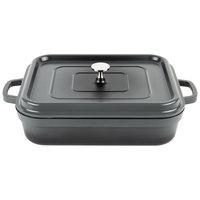 GET CA-010-GR/BK Heiss 5 Qt. Gray Enamel Coated Cast Aluminum Roaster with Lid