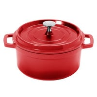 GET CA-011-R/BK Heiss 2.5 Qt. Red Enamel Coated Cast Aluminum Round Coated Cast Aluminum Dutch Oven with Lid
