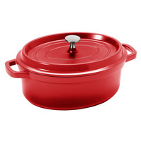 GET CA-009-R/BK Heiss 3.5 Qt. Red Enamel Coated Cast Aluminum Oval Coated Cast Aluminum Dutch Oven with Lid