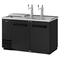 Turbo Air TCB-2SB (2) Double Tap Club Top Kegerator Beer Dispenser - Black, (2) 1/2 Keg Capacity
