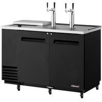 Turbo Air TCB-2SB Black 59 inch Club Top Beer Dispenser - 2 Kegs