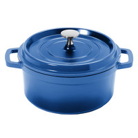 GET CA-011-CB/BK Heiss 2.5 Qt. Cobalt Blue Enamel Coated Cast Aluminum Round Coated Cast Aluminum Dutch Oven with Lid
