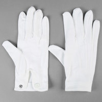 Henry Segal White Waiter's Gloves with Snap-Close Wrists - Size M