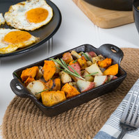 Valor 10 oz. Pre-Seasoned Cast Iron Mini Rectangular Server - 12/Pack