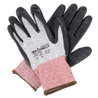 Machinist Salt and Pepper HPPE/Glass Fiber Cut Resistant Gloves with Black Foam Nitrile Palm Coating - Large - Pair