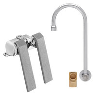 Fisher 22853 Backsplash Mounted Stainless Steel Faucet with 12 inch Swivel Gooseneck Nozzle, 2.2 GPM Aerator, Knee Valves, and Elbow