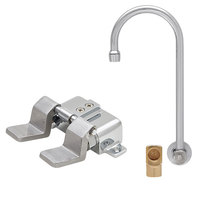 Fisher 22896 Backsplash Mounted Stainless Steel Faucet with 12 inch Swivel Gooseneck Nozzle, 2.2 GPM Aerator, Floor Foot Pedals, and Elbow