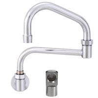 Fisher 20753 Backsplash Mounted Stainless Steel Faucet with 17 inch Double-Jointed Swing Nozzle, 2.2 GPM Aerator, and Elbow