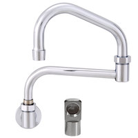 Fisher 20745 Backsplash Mounted Stainless Steel Faucet with 15 inch Double-Jointed Swing Nozzle, 2.2 GPM Aerator, and Elbow