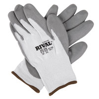 Rival Gray HPPE / Synthetic Fiber Cut Resistant Gloves with Gray Polyurethane Palm Coating - Medium - Pair