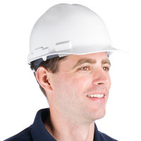 Duo Safety White Cap Style Hard Hat with 6-Point Ratchet Suspension